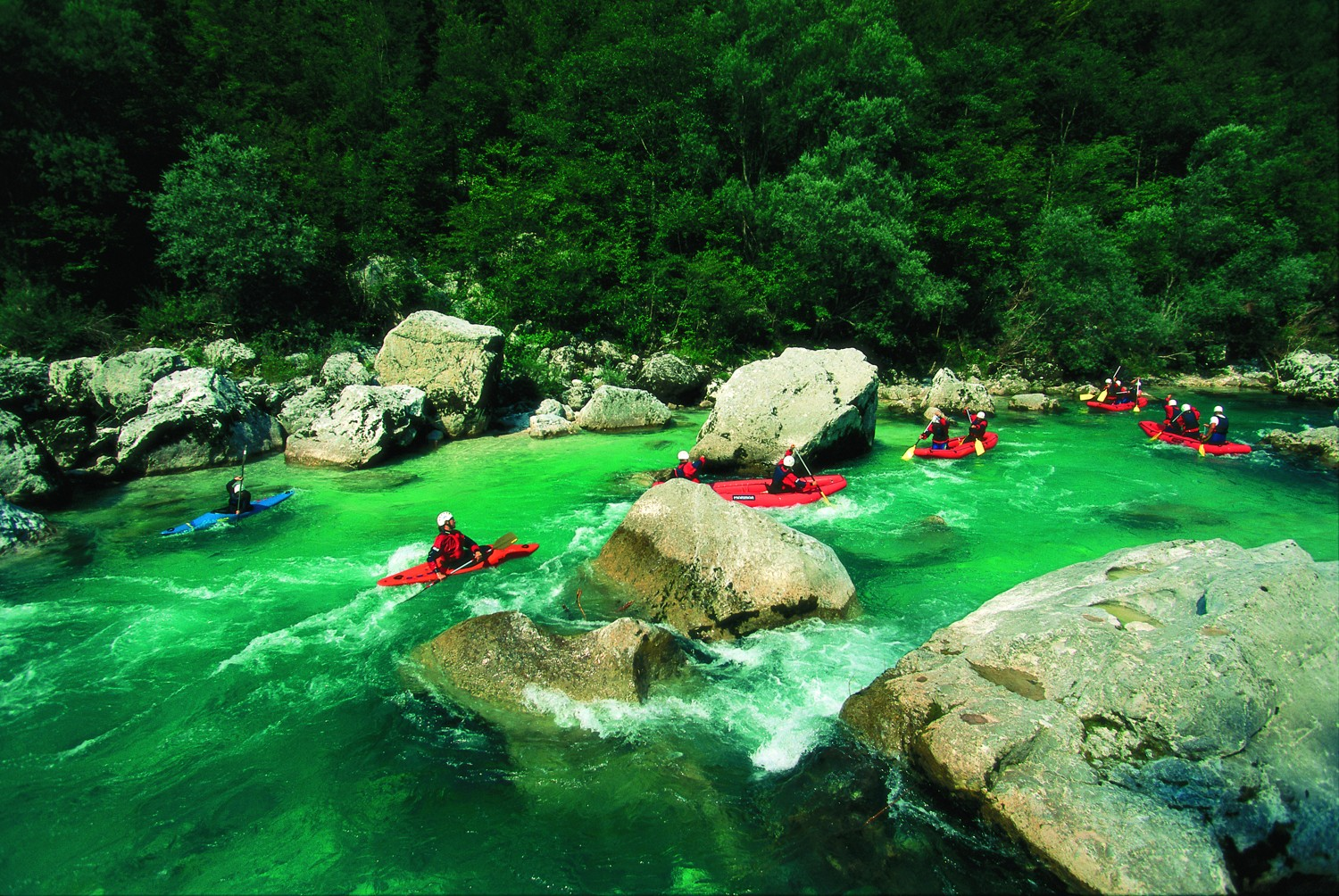 Kayaking on the Soča river