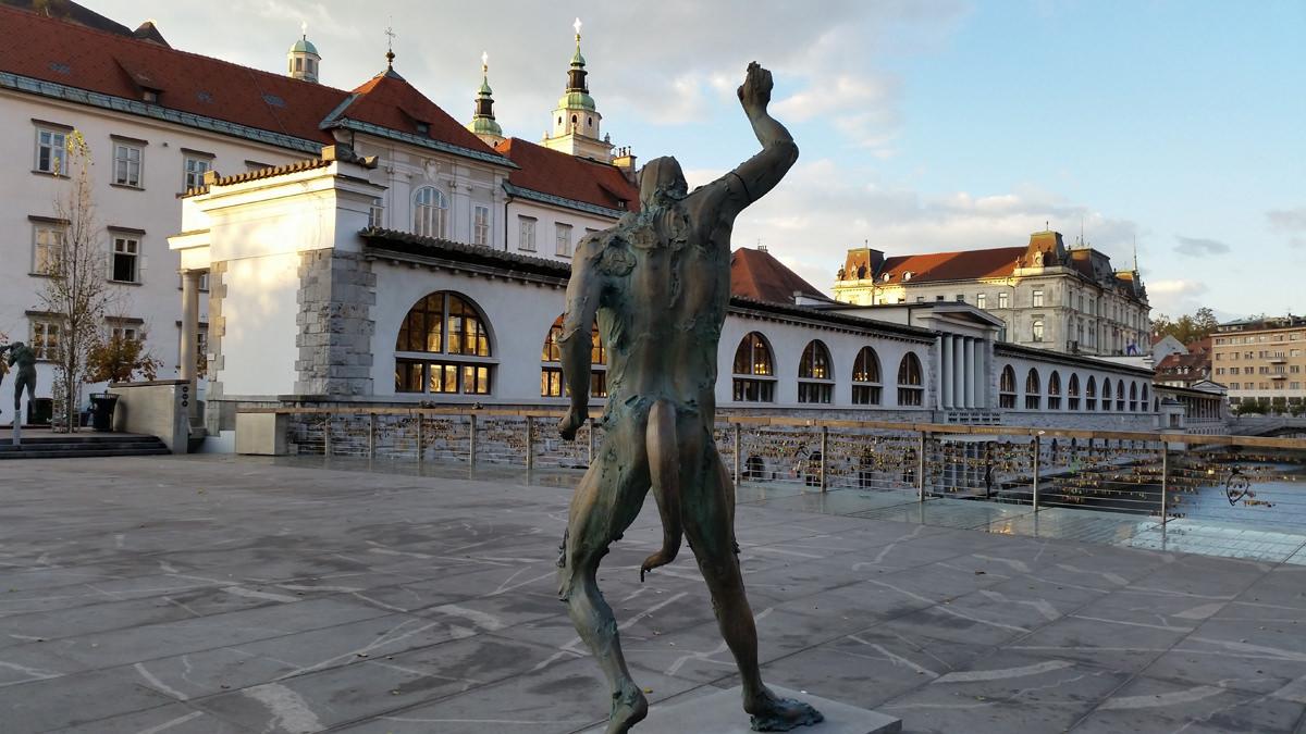Statue of Satyr by Jakov Brdar on Butchers' Bridge, Ljubljana