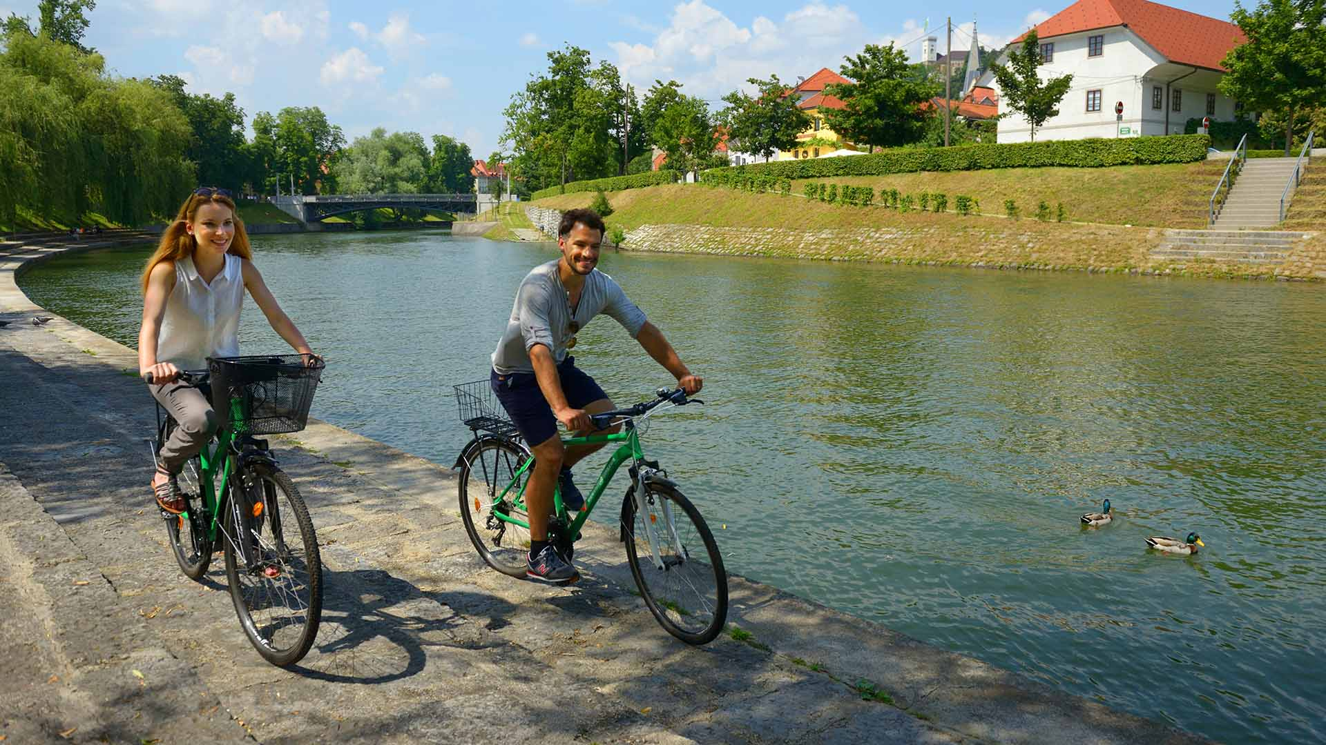 Cycling along the Ljubljanica river