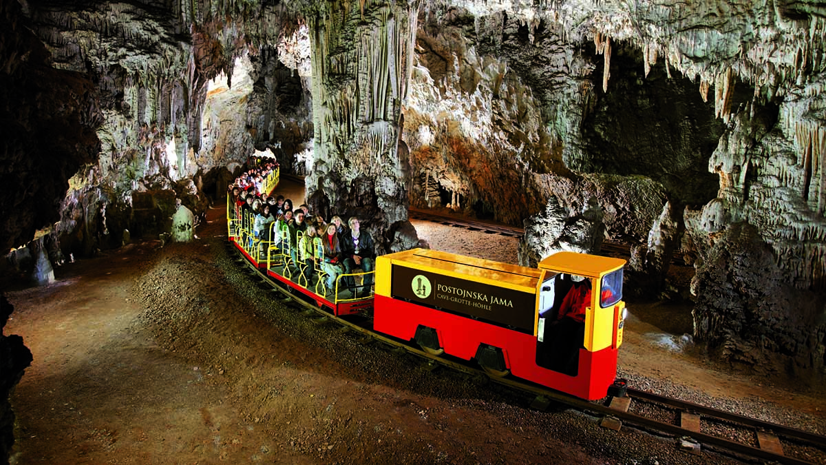 Train in Postojna Cave